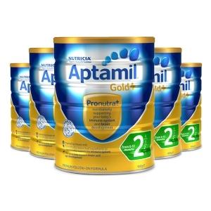 签名+报纸+拍照 【新西兰直邮】Aptamil爱他美金装2段 900g 6罐原装箱 直邮