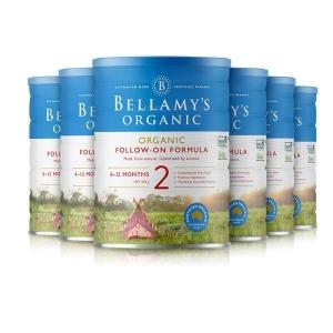 7天极速清关 BELLAMY'S有机婴儿奶粉贝拉米2段 6桶一箱 新西兰直邮 需要身份证号码